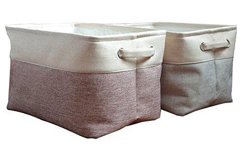 Biancheria pieghevole portabiancheria con due manici, resistente e durevole, pieghevole e autoportante come Cesto per la biancheria, Beige Red,