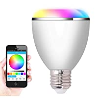 TECEVO Smart LED Bulb E27 Color Light With Wireless Bluetooth Speaker Full Phone App Control Lighting Mode Control, Music Control, Auto-Off Time Control Compatible With iPhone iPad Android Phone Tablet Etc