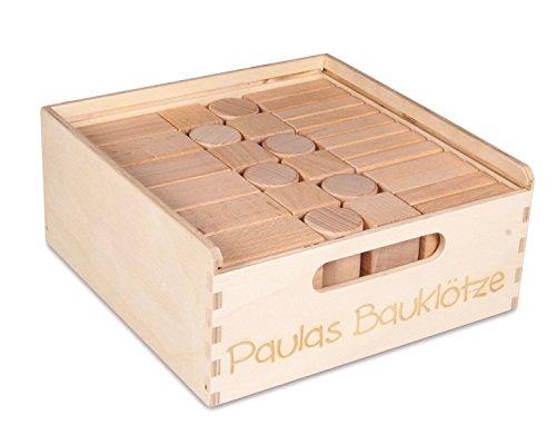 CreaBLOCKS-Holzbausteine Kleinkindpaket | 54 unbehandelte Bauklötze (mit individ. Lasergravur)