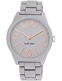 Nine West para mujer reloj infantil de cuarzo con esfera analógica gris y gris pulsera de plata de NW/1678gyrg