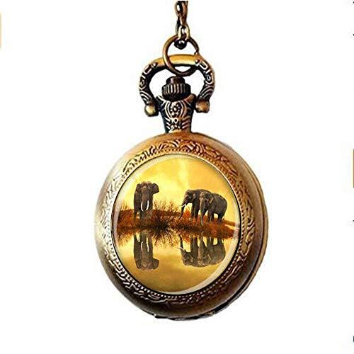 Collar de elefante de bolsillo con diseño de elefante para los amantes...
