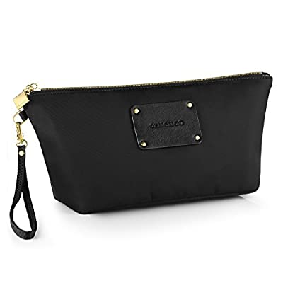 CHICECO Designer Makeup Pouch Cosmetic Bag with Detachable Wristlet- Black