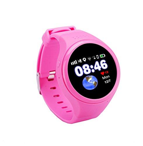Kimigo GPS Tracker Telefon-Uhr Kinderuhr Kidswatch SOS Notruf, Smartphone App gesteuert, Deutsch (Pink)