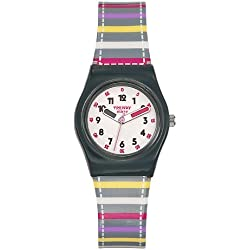 Trendy Kiddy-KL - 248 Girls'Watch Analogue Quartz White Plastic Strap Multicoloured Dial