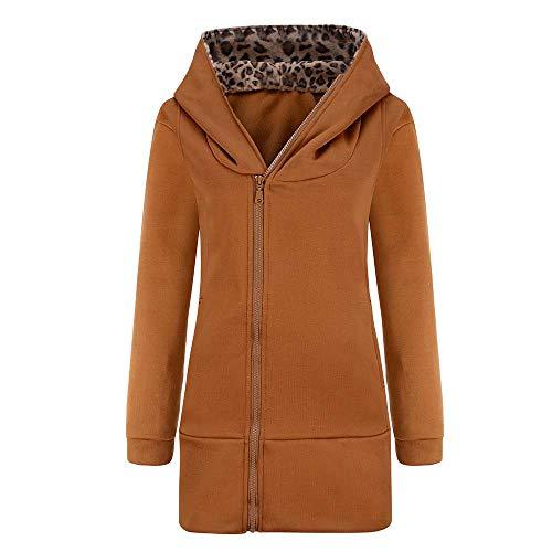 TOPKEAL Jacke Mantel Damen Herbst Winter Sweatshirt Steppjacke Kapuzenjacke Leopard Druck Hoodie Reißverschluss Pullover Lange Ärmel Outwear Warm Coats Mode Tops