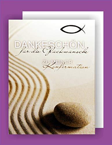Feste Feiern zur Konfirmation I 5 Teile Danksagung Karten Doppelkarten mit Briefumschlägen I Spuren im Sand Danksagungskarten