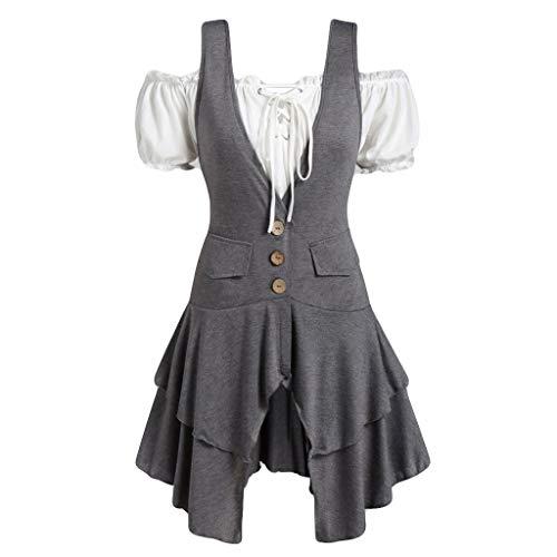 Lazzboy Frauen Plus Größen Mantel Blusen Knopf Taschen überlagertes Trägershirt Set Damen Steampunk Kostüm(Grau,3XL) (20er Jahre Kostüm Für Paare)