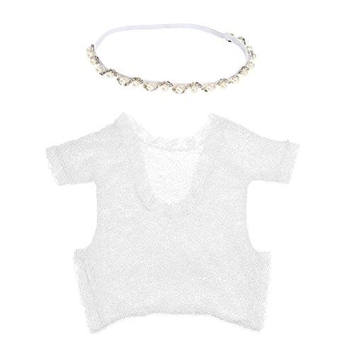 YeahiBaby Niedliche Baby Girl Fotografie Prop, Backless hohlen Bowknot Lace Kostüm Foto Requisiten - White Strampler und Silber Halskette