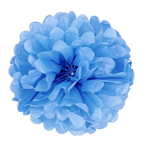 pons, 25cm Durchmesser, Seidenpapier blume Dekoration für Wohnzimmer Hochzeit Geburtstag Babyparty Kinder Party Weihnachten Silvester, Baby Blau ()