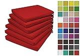Rollmayer 6er Set Stuhlkissen Stuhlauflage Sitzkissen Sitzpolster Auflage für Stühle in Haus und Garten Kollektion Vivid (Rot Mexikanisch 45, 40x40x4cm)