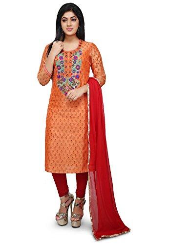 Utsav Fashion Embroidered Chanderi Cotton Straight Suit in Orange Color