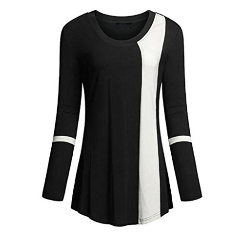 Shirt Damen Sunday Weicher Scoop Neck Langarm Farbblock Lose Patchwork Tuniken Top-Shirt (Schwarz, L) (Scoop Womens T-shirt Armee Neck)