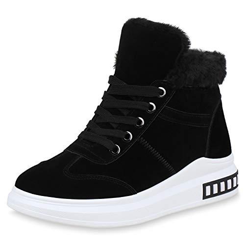 SCARPE VITA Damen Plateau Sneaker Warm Gefütterte Winter Turnschuhe Wedges  171325 Schwarz 37 a92ea23e56