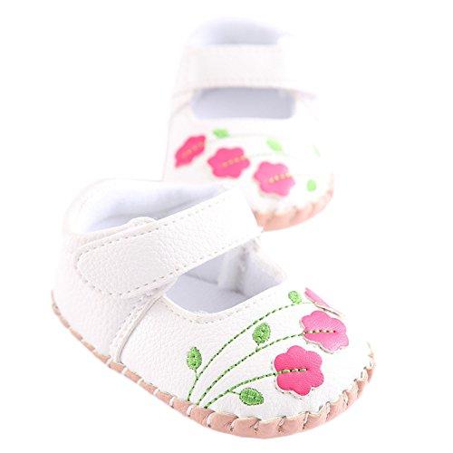 WAYLONGPLUS Baby-Kind-Mädchen Prewalker Sommer PU-Leder Anti-Rutsch weiche Sandalen Weiß