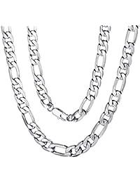 f7d0a17e24f1 ChainsPro Figarokette 925 Sterling Silber Kette ohne Anhänger Herrenschmuck  Klassische Herren Halskette Damen 316L Edelstahl 18