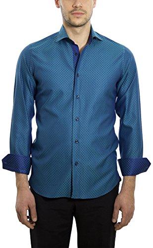 Dan Roma, Camicia Uomo, Sport, 100% cotone Verde acqua, Blu