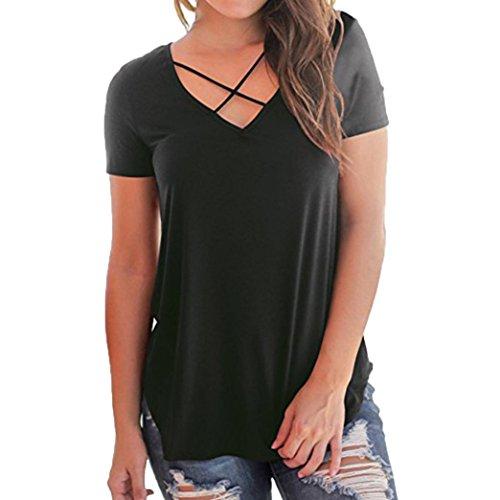 MCYs V-Ausschnitt Solide Lose Kreuz Bandage Kurzarm Damen Casual T-Shirt Tops Bluse Sommer Beiläufige Oberteil T-Shirt Hemd Tank Top (2XL) (Mit Perlen Seiden-camisole)