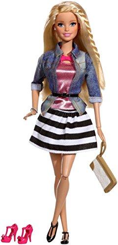 Barbie Mattel CFM75 - Deluxe-Moden Fashionistas gestreiftem Rock, schwarz/weiß -