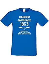 Tolles Geschenk-Set für Männer : Herren T-Shirt Hammer Jahrgang 1953 und Urkunde - Geschenk zum 64. Geburtstag : Geburtstagsgeschenk Übergrößen - 5XL Farbe: royal-blau