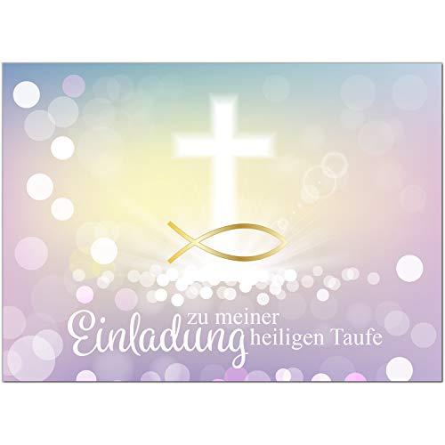 15 x Einladung zur Taufe/Einladungskarten mit Umschlag im Set/Motiv: Zauberhafter Verlauf Fisch Gold Rosa/Baby Taufkarte/Grußkarte/Postkarte /