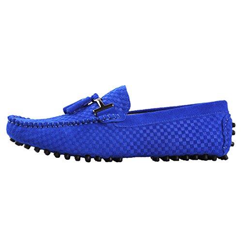 Santimon Mocassins en daim Hommes Suédine Cuir Bateau Chaussures Tissé Gland Pendentif Bleu