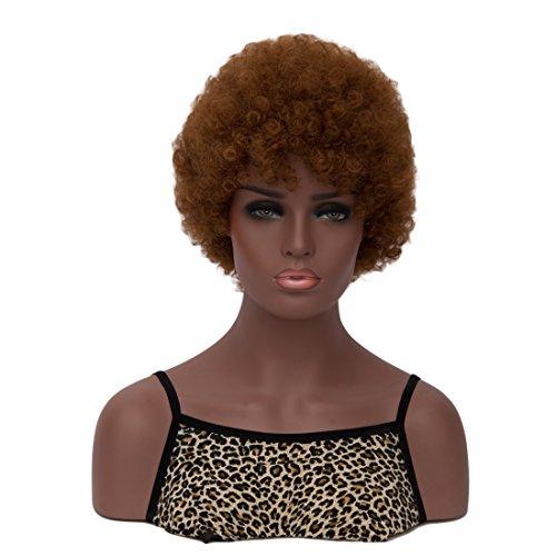 priomix Fashion kurz Afro American Kinky Curly Kostüm Haar Party Perücke + Perücke Cap
