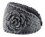 xel_uu.11 Damen gehäkeltes Stirnband Strick Haarband Blume Winter Ohrwärmer Stirnband, grau