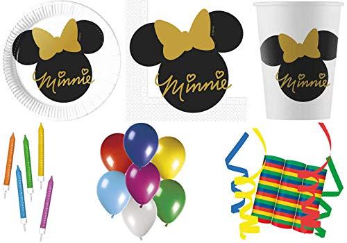 JT-Lizenzen Disney Minnie Mouse Gold 109-teiliges Kindergeburtstag Party Deko Set Motto Fete Feier 8 Teller, 8 Becher, 20 Servietten, 3 Rollen Luftschlangen, 10 Kerzen mit Haltern, 50 Luftballons Teller 10