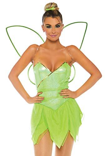 6 4 teilig Set Hübscher Elf, Damen Karneval Kostüm Fasching, Grün, Größe L (EUR 42-44) ()