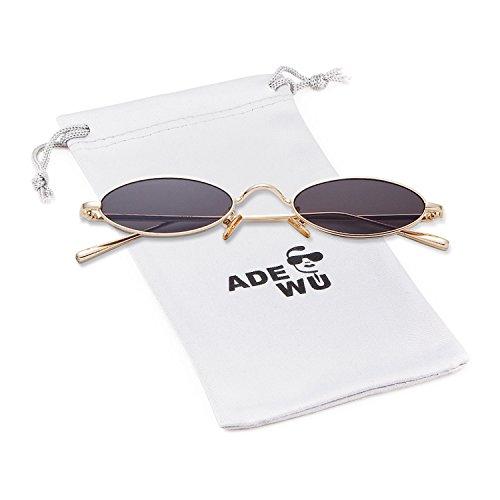 ADEWU Retro Oval Sonnenbrillen Metall Runde Vintage Brillen für Herren Damen