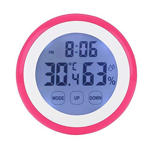LIUXIAOJIE Digitale Temperatur- und Feuchtigkeitszeit-Funktion Wanduhr Innenwetterstation Gerätetester LCD Hintergrundbeleuchtung Uhr, Rot