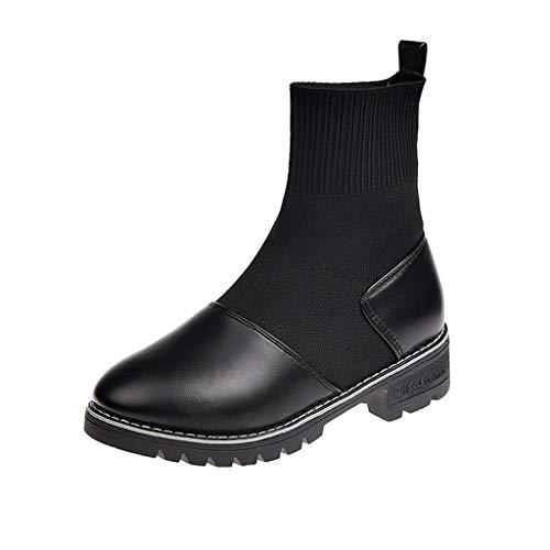 GNYD Damen Stiefel Leder Lack Winter Warme Outdoor Wasserdicht rutschfest Boots Freizeitschuhe Fashion Stretch Stiefel Strick Socken Stiefel Wild Booties