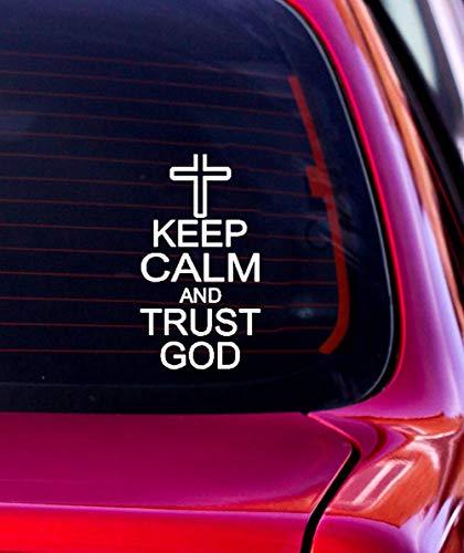 Auto Mit Aufkleber 8.5Cmx15Calm und Vertrauen Gott Jesus Religion Kreuz Auto Aufkleber Aufkleber Zubehör für Auto Laptop Fenster Aufkleber