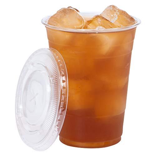 Einwegbecher To Go Crystal Clear PET-Kunststoff 6oz Becher mit flachem Deckel [100 Count] für kalte Getränke, Eiskaffee, Smoothie etc. 24 Oz Crystal