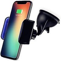 Cargador Inalámbrico Coche, KimKo Qi Cargador Coche Soporte Móvil Wireless Charger para iPhone X iPhone 8 iPhone 8 Plus Samsung S9 S9 plus S8 S8 Plus S7 Note8 y todos los dispositivos con Qi