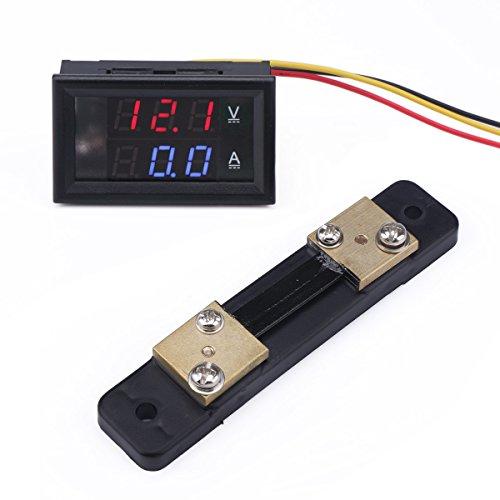 Multimeter Voltmeter Amperemeter, Droking DC 12V/24V 50A Car Voltmeter Ampere Meter Volt Amp Detector Ampere Voltage Gauge, Strommesser Stromspannung Prüfer for Autobatterie Auto Car (+ Shunt) Amperemeter Shunt