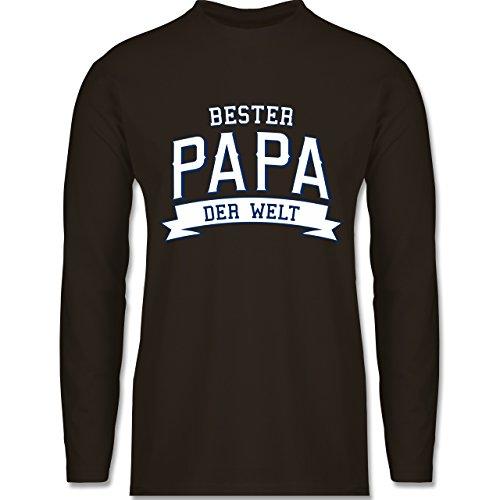 Vatertag - Bester Papa der Welt - Longsleeve / langärmeliges T-Shirt für Herren Braun