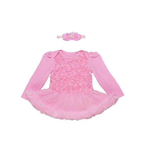 Baby Bubble-outfits (Fuibo Baby Kleidung,Kleinkind Kinder Mädchen Rose Bubble Kleid Party Kleid Prinzessin Kleid + Stirnband 2 Set (Pink, 73))