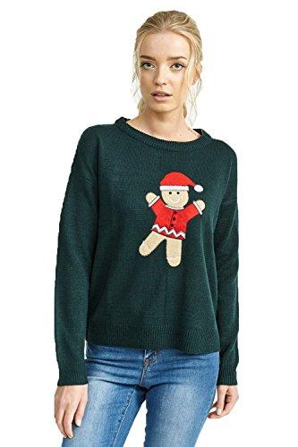 Brave Soul FEMMES NOËL FEMMES Festif Premium Pull Noël neige neuf 8-16 Gingerbread Man | Green