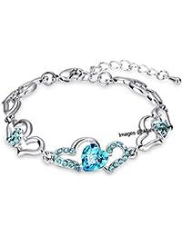 Oviya Silver Alloy Rhodium Plated Crystal Strand Bracelet for Women