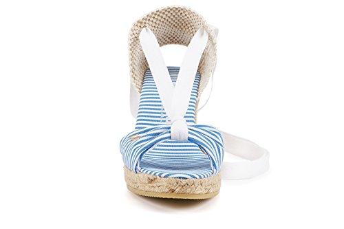Elegante Centimetri Donna Viscata 6 Strisce 5 Tossa Fabbrica Compensa Tacco Scarpe Marina Spagna In Bianche wAxgq4