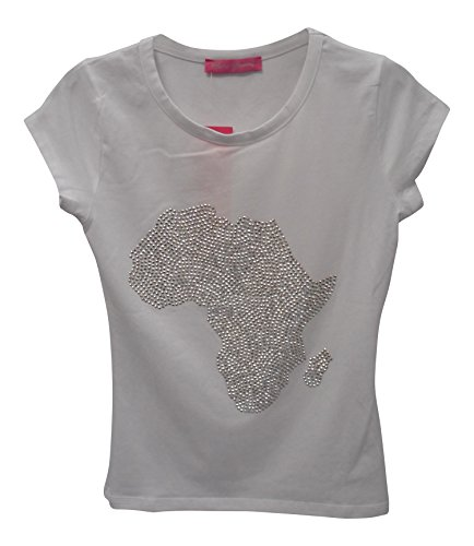 Africa diamante ladies t-shirt top, White, Extra-Large