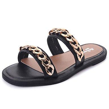 zhENfu Donna pantofole & flip-flops Comfort suole di luce PU abiti estivi Comfort suole luce tacco piatto nero argento Flat Black