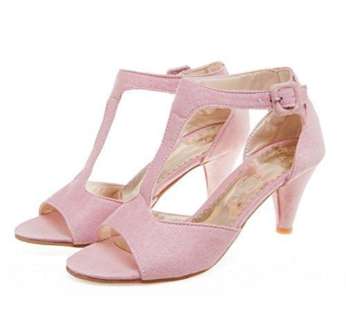 Aisun Damen Elegant Offene Zehen Trichterabsatz Peep-Toe Sandalen Pink