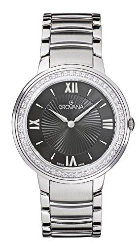 Grovana para mujer reloj infantil de cuarzo con esfera analógica y plateado correa de acero inoxidable de 2099,7137