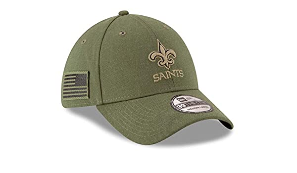 612aa1566 New Era New Orleans Saints 39thirty Stretch Cap On Field 2018 Salute to Service  Green - S-M  Amazon.co.uk  Clothing