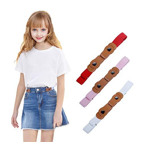 WELROG Keine Schnalle elastische Gürtel für Kinder - verstellbare unsichtbare Stretch-Gürtel für Baby/Kleinkind, Jungen und Mädchen (Rot/Pink/Weiß) (Mädchen Gürtel)