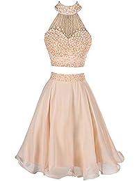 85f733b0d8 Vestido de noche de las señoras Vestido de fiesta de dos piezas con cuentas  de mujeres Vestido de fiesta sin mangas de dama de honor…