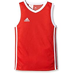 adidas COMMANDER J - Camiseta para niño, color rojo/blanco, talla 140 (135-140 cm 68-71 cm 62-63.5 cm 71.5-74.5 cm 65 cm)