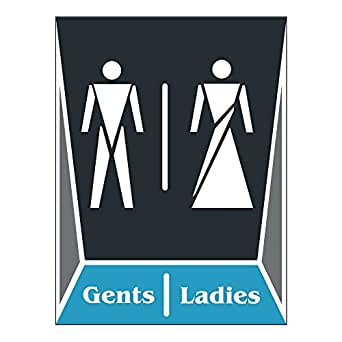 Clickforsign Toilet LADIES and GENTS_FBA Washroom Toilet Ladies and Gents Washroom Sign Board for Walls
